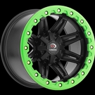 Vision ATV - 551 - Matte Black Green Lip Armour